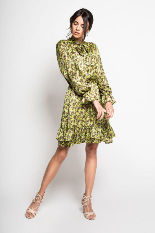 YOKO - Jedwabna sukienka seledynowa
